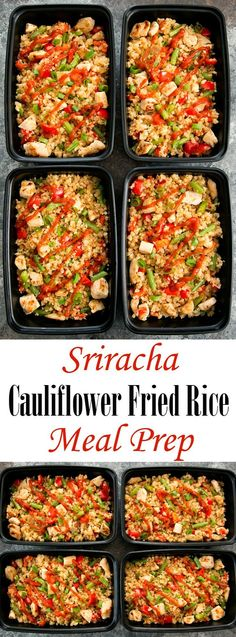 Sriracha Cauliflower Fried Rice Meal Prep – Kirbie {Kirbie's Cravings} Sriracha Cauliflower Fried Rice Meal Prep Sriracha Cauliflower Fried Rice Weekly Meal Prep. An easy, low carb and gluten free meal that can be prepared ahead of time. Lunch Recipes, Paleo Recipes, Low Carb Recipes, Cooking Recipes, Meal Prep Recipes, Carb Free Meals, Healthy Meal Prep, Healthy Eating, Keto Meal