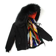 JAZZEVAR new high fashion street woman winter jacket female worm bomber coat hooded large raccoon fur outerwear rabbit fur liner