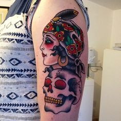 American traditional gypsy and skull tattoo // matt Chahal