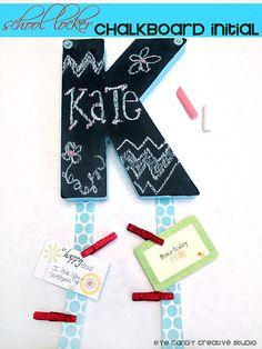 School Locker Chalkboard Initial Craft  @eyecandycreate #chalkboard…