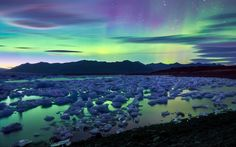 Earth Aurora Borealis  Earth Light Iceland Glacier Ice Wallpaper