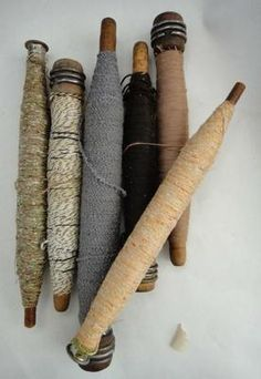 Victorian Weaving Loom spindles w/Original Threads/   I have some  from the Waterside Woolen Mills 1830, Pennsylvania