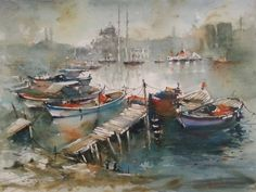 Burhan Özer Watercolor Artists, Learn Watercolor Painting, Watercolour Art, Painting Gallery, Art Gallery, Boat Painting, Multiple Exposure, Ship Paintings, Sculpture