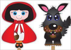 marionnettes, loup, g.mère, chaperon rouge,chasseur... + bâtonnets en bois