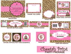 cheetah print birthday party package polka dots cheetah print baby shower party package
