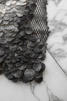RE-SEA ME rug with fish leather design by Studio Nienke Hoogvliet. Photography by Femke Poort. Skin Craft, Fabric Manipulation Techniques, Design Textile, Fabric Design, Textile Dyeing, Salmon Skin, Small Stool, Fabric Structure, Textile Artists