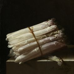 """Still Life with Asparagus"" - painting by Adriaen Coorte (1697)"