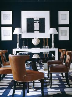 Exactly what i have been imagining for the dinning room >> navy + white + brown leather