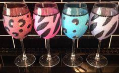 Animal Print Glitter Wine Glass