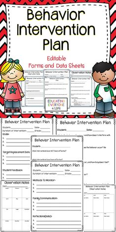 Create a behavior intervention plan with these easy to use forms and data sheets. #tpt