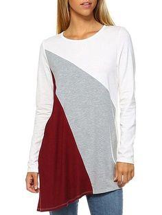 #RoseGal - #Rosewholesale Asymmetric Color Splicing Long Sleeves T shirt - AdoreWe.com