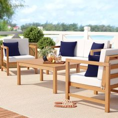 Beachcrest Home Crocett 4 Piece Sofa Set with Cushions Frame Color: Teak Cheap Furniture Stores, Cheap Patio Furniture, Cheap Bedroom Furniture, Country Furniture, Discount Furniture, Pallet Furniture, Online Furniture, Home Furniture, Antique Furniture