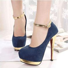 Dramatic Blue Suede Round Closed Toe Stiletto Super High Fashion Ankle Strap Pumps