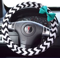 Black & White Chevron Steering Wheel Cover by FireflyCreations42, $20.00