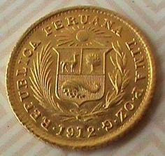 MOEDA PERU     1 /2   LIBRA  ,  1912  -  OURO  22 K