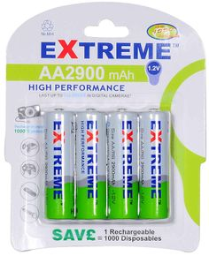 Extreme 2900 mAh high power AA NiMH 4pk Rechargeable Batteries