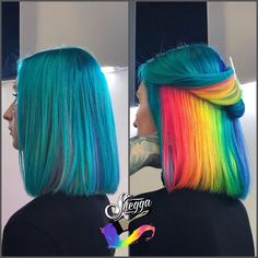 Stunningly Styled Unicorn Hair Color Ideas – My hair and beauty Cute Hair Colors, Pretty Hair Color, Hair Dye Colors, Rainbow Hair Colors, Rainbow Dyed Hair, Hidden Rainbow Hair, Vivid Hair Color, Peekaboo Hair, Pulp Riot Hair Color