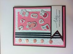 Welcome baby handmade card! All but the ribbon and embossing folder are Stampin' Up! products!