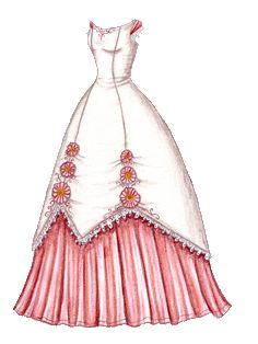 The Twelve Dancing Princesses (A Christmas Tale), Day Six: Holly's White Gown with Gerbera Daisies and Pink Embroidery | Liana's Paper Dolls