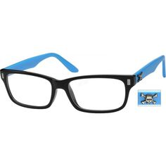 Might be my new frames from zennioptical.com -- #269816 -- A blue/black plastic full-rim frame with skull & crossbones on temples.