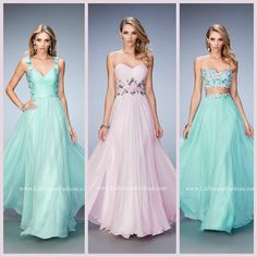 La Femme 22804, 22731 and 22732 long prom dresses - homecoming dresses - formal dresses - bridesmaids dresses - pageant dresses - chiffon gowns - sweetheart necklines - open backs - floral lace embellished - style inspiration - spring - pastels