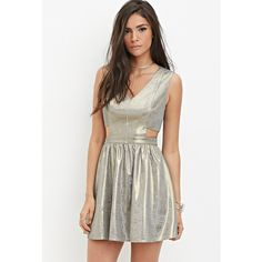 Forever 21 Women's  Metallic Fit and Flare Dress ($30) ❤ liked on Polyvore featuring dresses, woven dress, metallic cocktail dress, fit and flare dress, fit flare dress and white full length dress