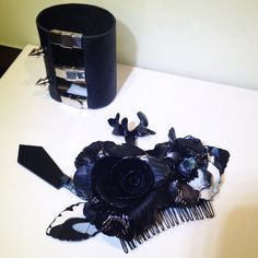 Handmade hair comb and leather bracelet