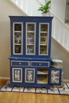 Hutch with Napoleonic Blue Chalk Paint and Toile Fabric Decoupage., via Etsy.