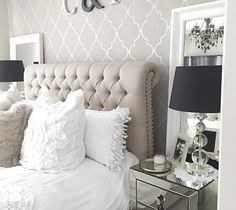 32 grey and white decor living room - norwin home design Glam Bedroom, Bedroom Wall, Bedroom Decor, Wall Decor, Bedroom Ideas, Wall Art, Home Design, Interior Design, Master Bedroom Design