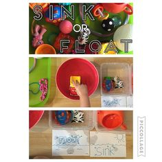 Sink or Float {We got a pile of toys and sorted them into bins of what floats and what sinks! We haven't talked about this before but the cards I drew helped her remember which was which and she caught on really fast!} #earlykideducation #toddlersorting #toddlerlearning #kideducation #toddlereducation #earlyeducation #sinkfloat