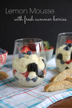 Lemon Mousse with Fresh Summer Berries: Light and airy lemon mousse layered with fresh mixed berries makes for the perfect no-bake summer dessert.