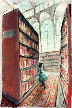Little girl in a library.