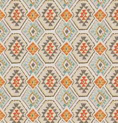 Aqua Orange Brown Ikat Upholstery Fabric by the Yard - Ikat Fabric for Furniture - Navajo Fabric for Curtains Roman Shades - Ikat Pillows