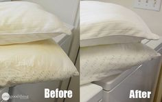 Have your pillows yellowed? Here's how to wash and brighten your pillows so they'll look white again