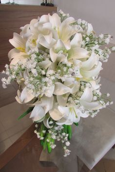 White Casablanca Lilies + White Gypsophila Wedding Bouquet