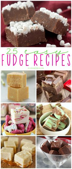 25 Easy Fudge Recipes - some sweetened condensed milk, some chocolate, a couple other ingredients, and you have yourself a wonderful new creation from a really basic recipe.