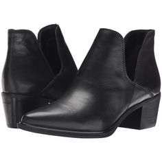 Steven Dextir (Black Leather) Women's Dress Pull-on Boots ($73) ❤ liked on Polyvore featuring shoes, boots, ankle booties, black, black boots, leather booties, short boots, leather boots and black pointed toe booties