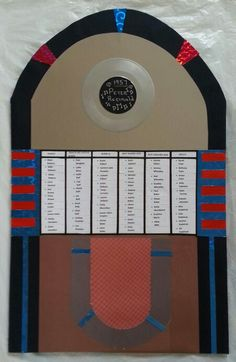 Jukebox style table plan board 50s & 60s wedding.