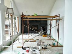 How to Easily Paint a Stone Fireplace (Charcoal Grey Fireplace Makeover) Stone Fireplace Makeover, Slate Fireplace, Fireplace Doors, Paint Fireplace, Fireplace Ideas, George Nelson, High Heat Paint, Gallon Of Paint, Living Room Update