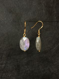 Labradorite Gold Earrings.