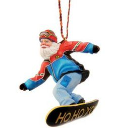 Snow Board Santa Ornament @ Campmor.com