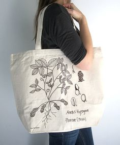 Items similar to Canvas Tote Bag - Screen Printed Recycled Cotton Grocery Bag - Large Canvas Shopper Tote - Reusable and Washable - Eco Friendly - Botanical on Etsy Cotton Bag, Cotton Canvas, Paper Grocery Bags, Bag Patterns To Sew, Shopper Tote, Printed Bags, Looks Style, Textiles, Large Bags