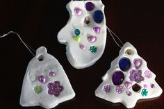 2-INGREDIENT WHITE CLAY DOUGH: gorgeous, easy ornaments for kids to make - Happy Hooligans