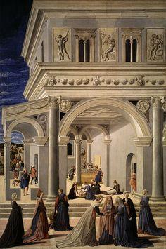 The Birth of the Virgin, 1467  Fra Carnevale (Bartolomeo di Giovanni Corradini) (Italian, Marchigian, active by 1445, died 1484)  Tempera and oil on wood