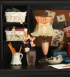 Super cute lamp, and love the coffee cup for penholder and basket ideas!