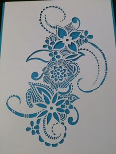 Hand cut art work Floral design in turquoise Kirigami, Jagua Henna, Chinese Paper Cutting, Paper Cut Design, Paper Lace, Fine Paper, Flower Doodles, Mosaic Projects, Arts And Crafts Movement