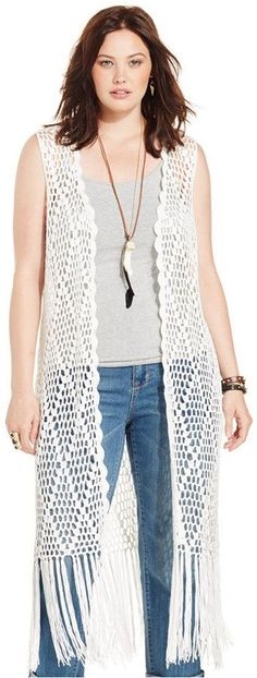 Plus Size Sleeveless Crochet Vest. Crochet kimono or duster Gilet Crochet, Crochet Poncho Patterns, Crochet Shirt, Crochet Jacket, Crochet Cardigan, Crochet Vests, Crochet Vest Outfit, Poncho Outfit, Gilet Kimono
