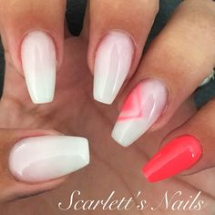 Coffin shaped French ombré gel nails with pink accent