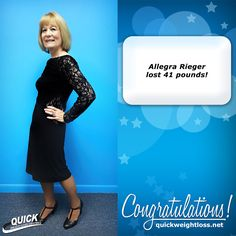 "Congratulations to Allegra Rieger from Miami, Florida for losing 41 pounds on the Quick Weight Loss program!  ""I feel grateful and fortunate to have been able to participate in this program, along with the added benefits and security of my Platinum Membership. I believe this program is unsurpassed, and should be expanded to more areas giving others the opportunity for better health. Now that I have this new body, I believe that age is just a number, and that I can do anything."" -Allegra…"
