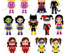 Superchicas niña superhéroe Clip Art / imágenes prediseñadas